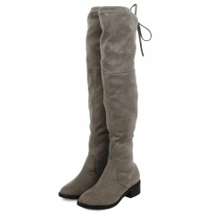 Old Classical Solid Color Elastic Knee Boots for W KHAKI 36