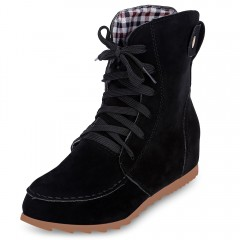 Trendy Round Toe Lace-up Suede Elevator Shoes Wome BLACK 40