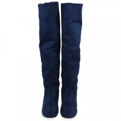 Old Classical Style Solid Color Round Toe Knee Boo DEEP BLUE 37