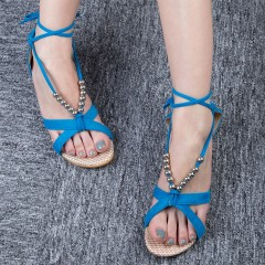Summer Lady Sandals Flat Heel Beaded Lacing Small  OCEAN BLUE 36
