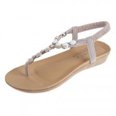 Bestselling rome nubuck leather beads elastic band flip flops Sandals for women flat beach shoes black 36