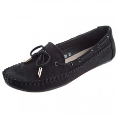 Fashionable Handwork Bowknot Design  Round Toe Wom BLACK 35