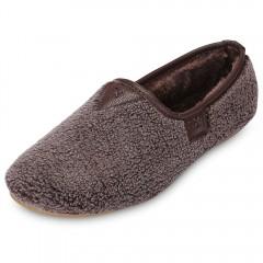Trendy Round Toe Fleece Slip-on Flat Heel Women Sh DEEP BROWN 36