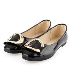 Casual Square Buckle Embellishment Slip On Shoes f BLACK 36