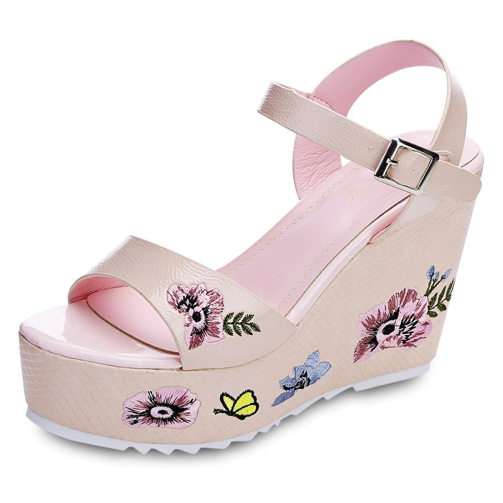 4475ad0232e9 Women Platform Sandals Open Toe Wedges Floral Embr PINK 35  Product No   2566390. Item specifics  Seller SKU C6PEVI5QG  Brand