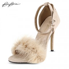 BaiBeiQi Sexy Feather Open Toe Ankle Strap Thin Hi PINK 36