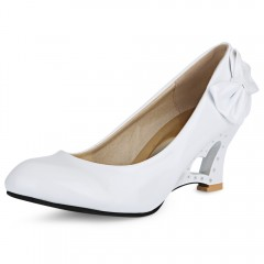 New fashion patent leather bow heart-shaped hollow heel slope heel Single shoes women's high heels ROSE MADDER 41