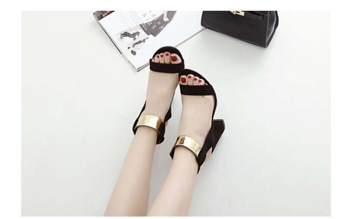 6cc9ebf7a Sexy Golden Band Design Magic Tape Thick High Heel Women Gladiator Sandals