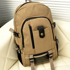 Multi-Use Men Women Backpack Solid Color Casual Canvas Travel Camping Backpack