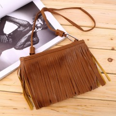 Women's Punk Satchel Tassel Suede Fringe Shoulder Messenger Cross Body Bag brown One Size