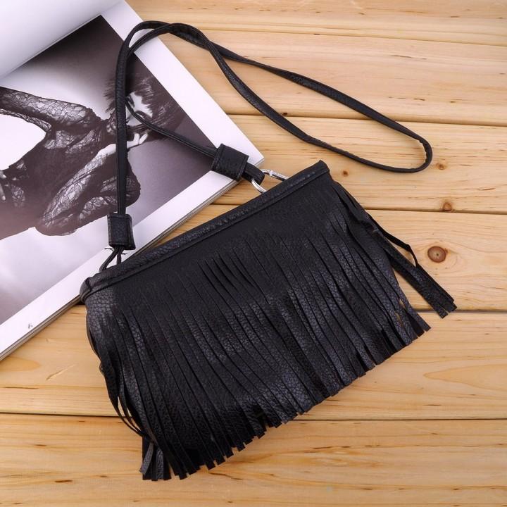 Women's Punk Satchel Tassel Suede Fringe Shoulder Messenger Cross Body Bag black One Size