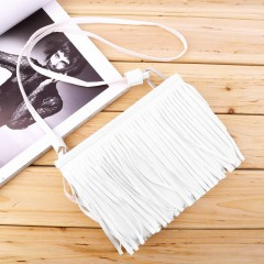 Women's Punk Satchel Tassel Suede Fringe Shoulder Messenger Cross Body Bag white One Size