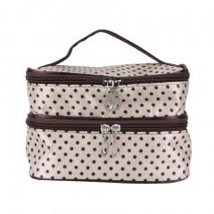 Hanging Dot Zip Cosmetic Bag Makeup Pouch Travel Toiletry Organizer Handbag beige One Size