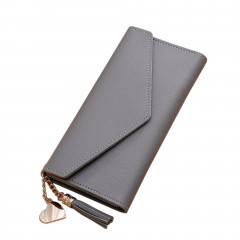 Long Lady Wallet PU Women Purse Handbag Solid Clutch Bag Cards Cash Holder gray One Size