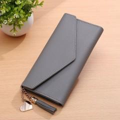 Long Lady Wallet PU Women Purse Handbag Solid Clutch Bag Cards Cash Holder gray One Size