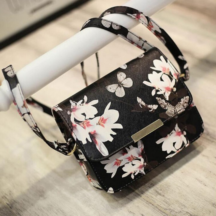 Women Floral Pattern leather Handbag Small Messenger Bag Clutch Shoulder Bags black One Size