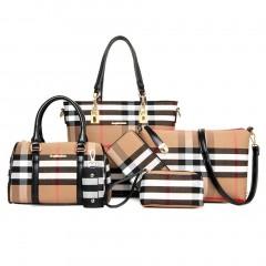 Six Pieces Set Bags Shoulder Bag Messenger Bag Ladies Wallet Plaid Pattern