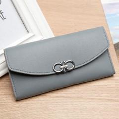Simple Women Wallet Purse Portable Cash Coin Card Holder Long Clutch Handbag gray One Size