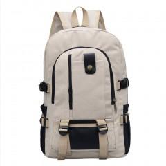 Men's Leisure Travel Canvas Shoulder Backpack Dark Red/Khaki High-capacity Khaki One Size