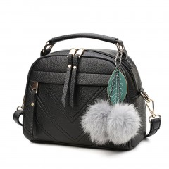 Women PU Leather Handbag  Hairball Pendant Lady Shoulder Crossbody Bag black One Size