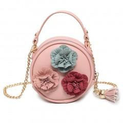 Round Shape Lifelike Flowers Decoration Simple Shoulder Bag Crossbody Bag pink One Size