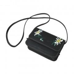 Women Fashion Embroidery Square Bag PU Crossbody Shoulder Bag Cellphone Pocket black One Size