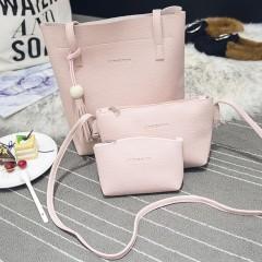 Fashion Women 3 in 1 PU Bag Set Tassel Handbag Shoulder Bag Sling Coin Bag pink One Size