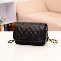 Chain Shoulder Bag PU Leather Sling Bag Magnetic Buckle Solid Color Women Bag black One Size