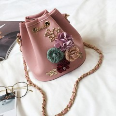 Trendy Female Bucket Bag Sweet Flower Shoulder Bag With Chain Drawstring pink One Size