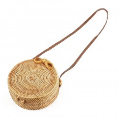 Woven Handbag Bowknot Round Rattan Straw Woven Crossbody Beach Circle Bag as picture 20cm diameter one size wood