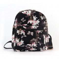 Women Floral Printed PU Leather School Bookbag Travel Shoulders Bag Backpack black One Size
