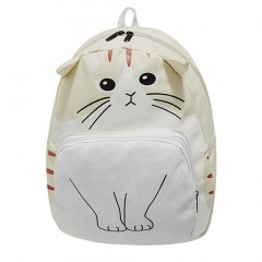 Cute Cartoon Cat Design Women Canvas Backpack Casual Teenage Girls School Bag white One Size
