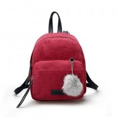 Women Corduroy Solid Color Backpack Vintage Adjustable Strap Travel Backpack Red One Size