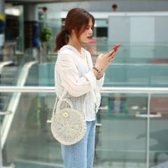 Women Summer Beach Single Shoulder Bag Elegant Rattan Woven Tote Circle Bag