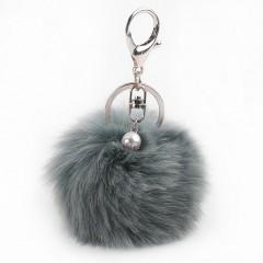 Simulation Rabbit Fur Ball Keychain Car Key Ring Plush Pendant Decoration