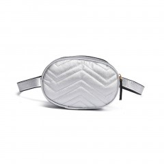 Wave Pattern Fashion Waist Bag Popular Chest Pack Crossbody Bag Shoulder Bag silver One Size