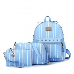 3Pcs Fashion Women Striped Backpack with Clinch Bolt Shoulder Bag Hand Bag blue One Size