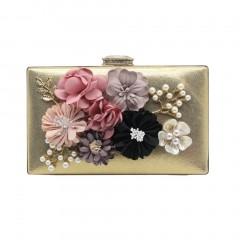 Elegant Flower Decoration Women Clutch Bag Party Night Club Evening Bag gold One Size