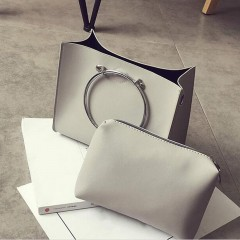 Fashionable Women PU Leather Handbags Metal Circle Rings Single Shoulder Bag gray One Size