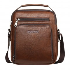 High Class Soft PU Leather Men Bag Casual Business Style Men Messenger Bag brown One Size
