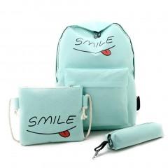 3pcs/Set Composite Bag Canvas Women Backpack Letter Print Fashion School Bag