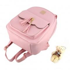 4Pcs Women Backpack With Tassels Bear Doll Shoulder Bag Handbag Card Bag