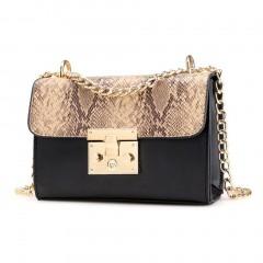 Fashion Snakeskin Pattern Lady Bag Women Shoulder Bag All-match Crossbody Bag black One Size