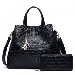 Women Composite Bag Simple Soft PU Leather Crocodile Pattern Messenger Bag
