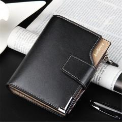 Korean Fashion Men Multifunctional Zip Buckle Short Wallet Money Clip Purse black One Size