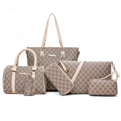 6PCS/SET Korean Fashion Women Composite Bag Female Ladies Fashion Shoulder Bag white One Size