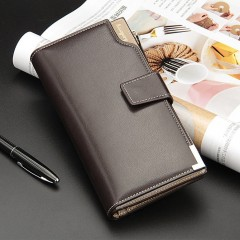 Men Soft PU Leather Long Style Wallet Zipper Type Money Credit Cards Organizer Coffee Color One Size