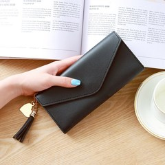 Long Lady Wallet PU Women Purse Handbag Solid Clutch Bag Cards Cash Holder black One Size