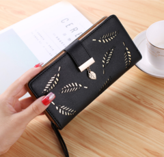 Women Wallet PU Leather Purse Long Wallet Hollow Leaves Pouch Handbag Purse Card Holders Clutch black one size