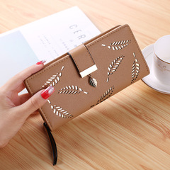 Women Wallet PU Leather Purse Long Wallet Hollow Leaves Pouch Handbag Purse Card Holders Clutch brown one size